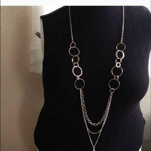 Paparazzi Silver Tone Long Necklace & Earrings Set